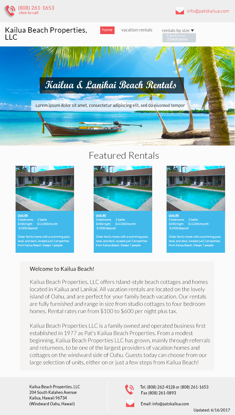 Pat's Kailua - Full Site Redesign, SEO & Consulting